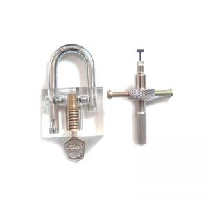 Clear Disc Detainer Practice Padlock w/ Lock Pick Training Aid
